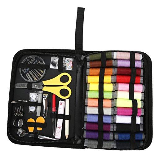 Jeanoko Kit de Costura para el hogar DIY Caja de Almacenamiento de Hilo Mini Kit de Costura de Viaje portátil Suministros de Bordado de PU