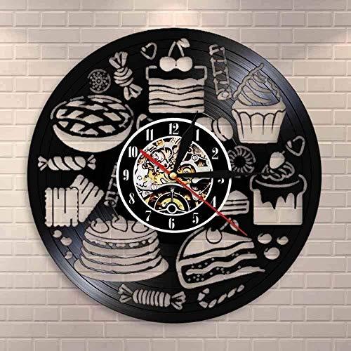 Pan Caramelo Pastel Colgante de Pared Arte Reloj Superficie Embalaje Tienda Letrero Decoración de Pared Pastelería Disco de Vinilo Reloj de Pared Caramelo Cocina Decoración Mesa