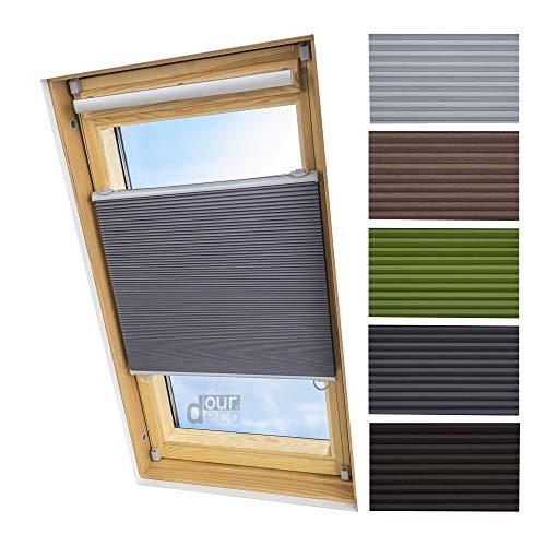 ourdeco® Universal Dachfenster Thermo-Wabenplissee/83 x 141 cm grau(Breite x Höhe)/lichtundurchlässig, verdunkelnd, Thermo- und Hitzeschutz/Klemmen=Montage ohne Bohren=Smartfix=Klemmfix=Easy-to-fix