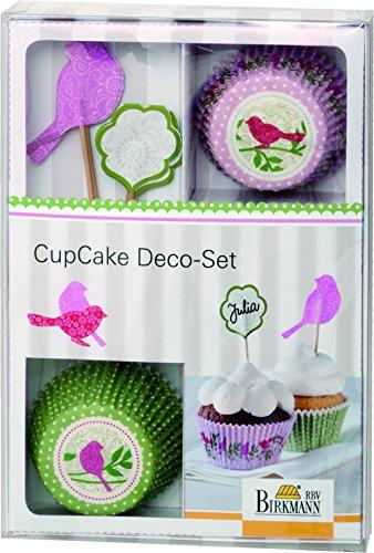 Birkmann 1010744810 Cupcake Deco-Set, Vogel, Kunststoff, Grau, 5 x 3 x 2 cm