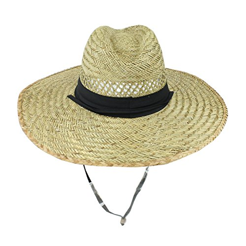 SUN & FUN Men's Straw Outback Lifeguard Sun Hat with Wide Brim, Natural/ Black, One Size / Adjustable