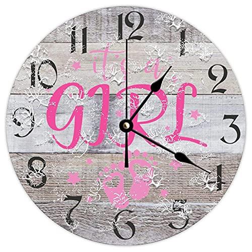 에 의해 나무로 되는 시계 브랜드 명 벽 장식은 12 인치 그것은 여자 여자 아기 아기 샤워기 건전지에 의하여 운영 소박한 벽 장식 위해 거실 부엌 침실 파티오