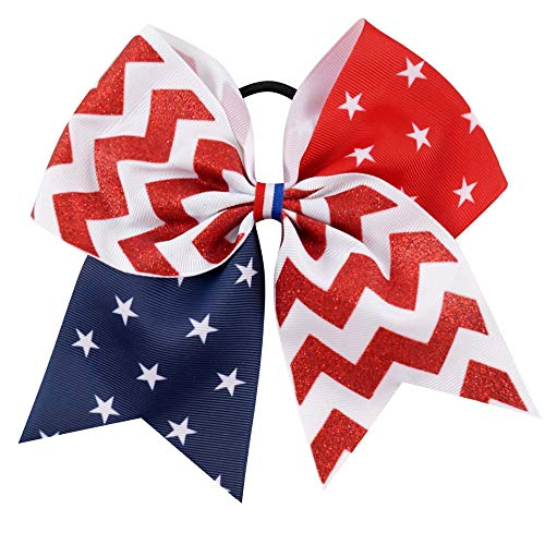 USA Red White Blue Girls Cheer Hair Bow Ties America Flag Glitter Hair Ribbons Bows with Elastic Tie (Red Wave)