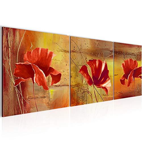 Runa Art - Peinture Coquelicots 120 x 40 cm Tableau en Toile non Tissée Rouge Jaune En plusieurs Parties Moderne Decoracion Murale 201133a