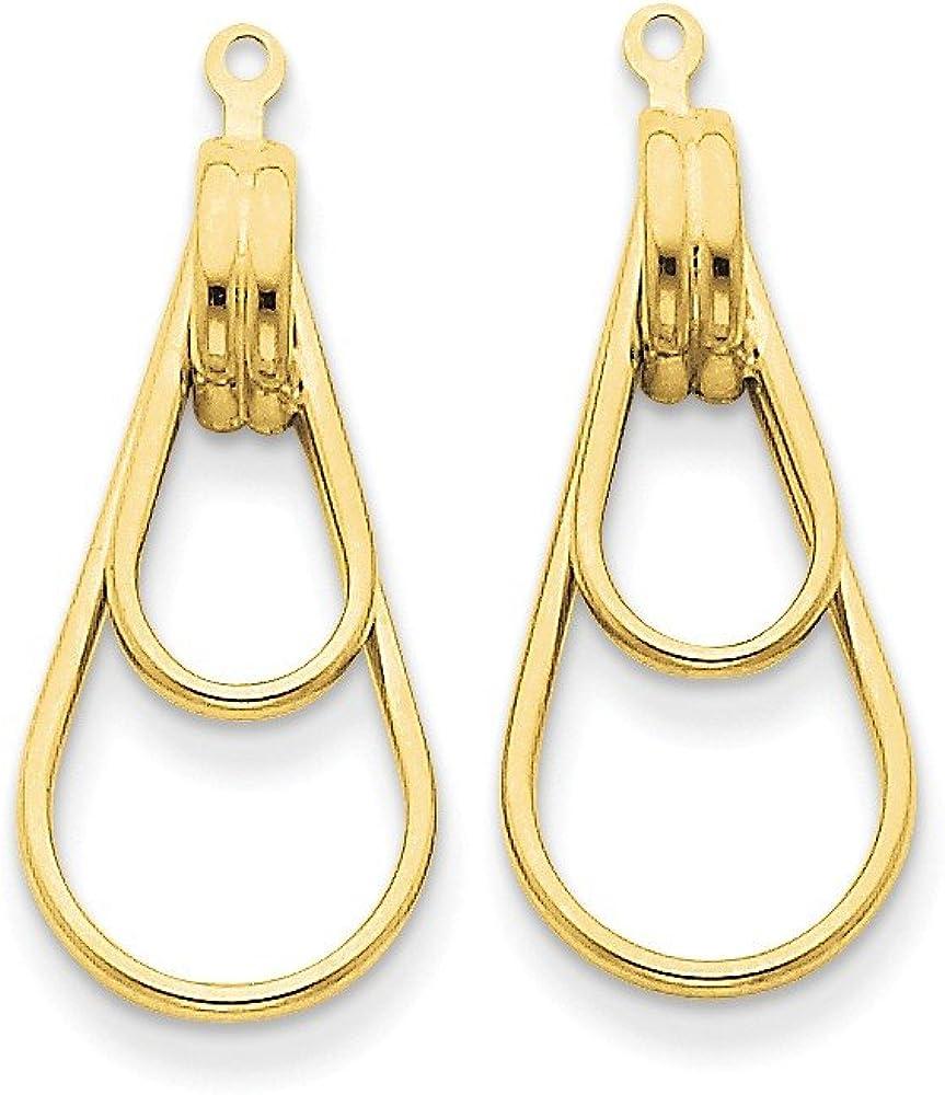 Genuine 14k Yellow Gold Polished Double Teardrop Earring Jackets 28x12mm