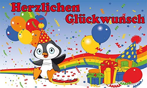 Fanshop Lünen Fahne - Flagge - Geburtstag - Herzlichen Glückwunsch zum Geburtstag Pinguin - Regenbogen - Luftballon - 90x150 cm - Hissfahne -