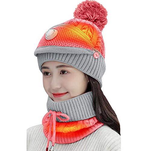 jjff Conjunto de Bufanda de Sombrero de Invierno 3 en 1 Gorro de Punto para Mujer, Gorro de Punto para niños para Esquiar, Correr, Acampar, Viajar y pasear Perros
