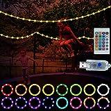 LED-Trampolin-Lichter, 16 Farben, mit Fernbedienung, wasserdicht, LED-Lichter, USB-betrieben, mit Fernbedienung, Weihnachtsdekoration für Spielen bei Nacht, Partys im Freien
