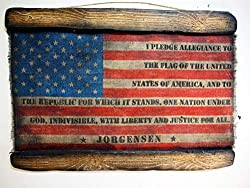 Image: American Flag with Family Name and Oath, Personalized Artwork made of Aged Burlap and Wood, Army Family Gift, Rustic Wall Decor, Handmade | Brand: Woodcraft City
