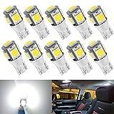 Kitchasy Led 194 168 Bulb, 175 2825 158 W5W 2825 T10 Wedge, 6000K White Upgrade 5 SMD 5050 Chipset White Light for Car Interior Dome Map Courtesy License Light, Parking Side Marker Lights,10pcs White