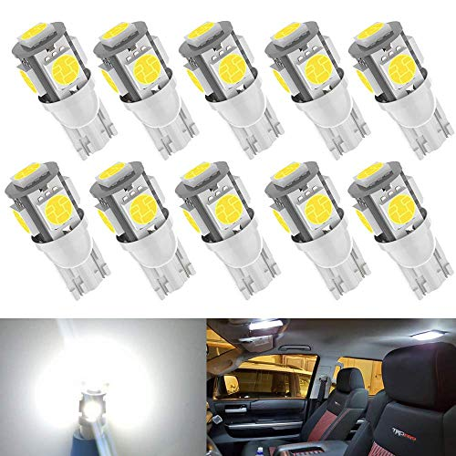 Kitchasy Led 194 168 Bulb, 175 2825 158 W5W 2825 T10 Wedge, 6000K White Upgrade 5 SMD 5050 Chipset White Light for Car Interior Dome Map Courtesy License Light, Parking Side Marker Lights,10pcs White