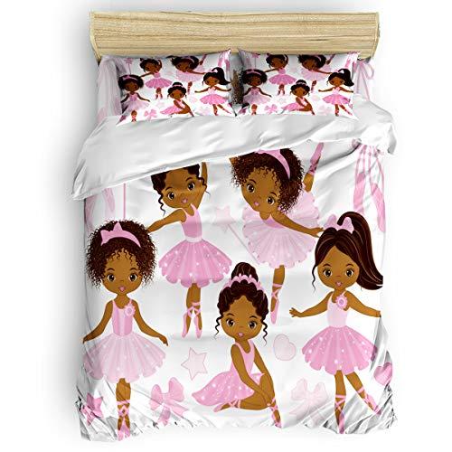 Elfantasy Luxury Duvet Cover Set for Women Men Soft Bed Sheet Sets,Cute Girl Ballerina Dancer Gymnastic Pattern Kids Bedding Set,Include 1 Flat Sheet 1 Comforter Cover and 2 Pillow Cases Twin