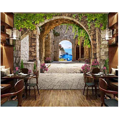 Fotobehang Fotobehang Thuis Aangepaste Moderne Woonkamer Achtergrond Muur 3D Behang Europese 3D Bogen Groen Bladeren Fotobehang Behang