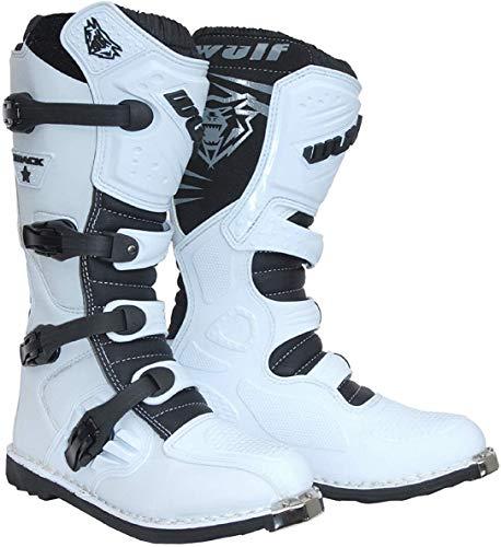 Wulfsport Trackstar - Stivali da motocross, per adulti, quad, bici da cross, BMX, fuoristrada, corsa, Mx, protezione per enduro, colore: bianco