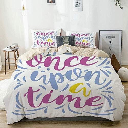 Juego de fundas nórdicas Beige, Érase una vez Estilo Doodle Caligrafía motivacional Líneas en colores pastel Frase de cuento de hadas Decorativo, decorativo Juego de cama de 3 piezas Super King Size c