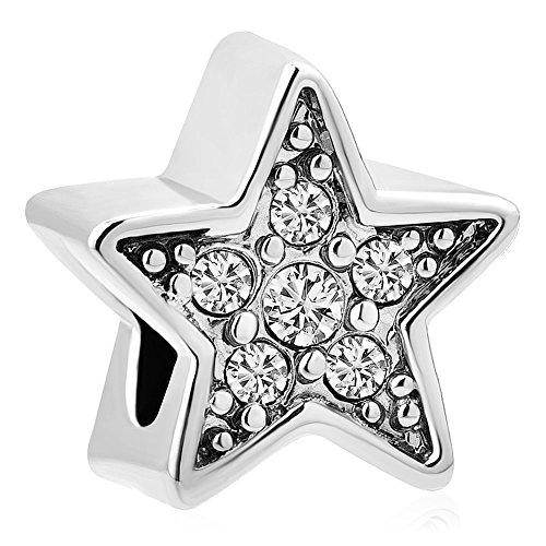 Sug Jasmin Shiny Star Charm Fit European Charm Bracelets