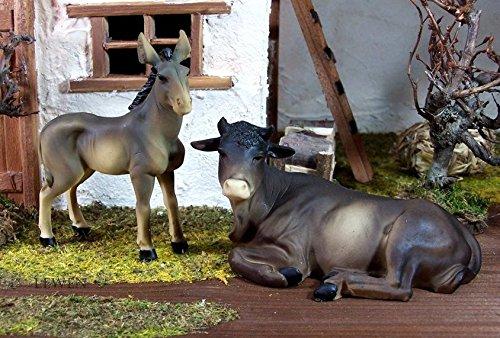 Ochse und Esel, zu 15 cm Krippenfiguren, Krippentiere aus Polyresin, bemalt