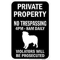 PRIVATE PROPERTY ブラックマグネットサイン:オーストラリアンシェパード シルエット 英語 私有地 無断立入禁止