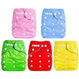 Baby Bucket All-in-One Bottom-Bumpers Washable Cloth Diaper Set of 5-(Without Inside pad)-(Multi...