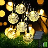 Solar Garden Lights Outdoor Waterproof, 50LED 7M/24Ft Solar Fairy Lights, Crystal Ball Lights with 8 Modes, Decorative Lighting for Home, Yard ,Patio, Party, Christmas (Warm White)