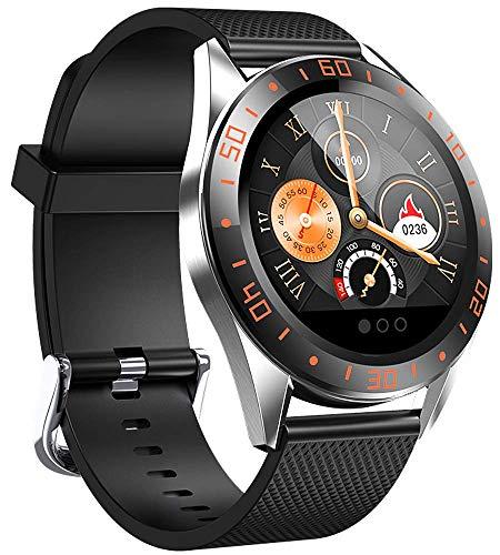 Smartwatch, Fitness Armband Tracker Voller 5ATM Wasserdicht Smart Watch Intelligente Aktivitäts Uhr Sportuhr, Damen Herren Pulsmesser Schlafmonitor SMS Beachten Armbanduhr für Android iOS (Orange )