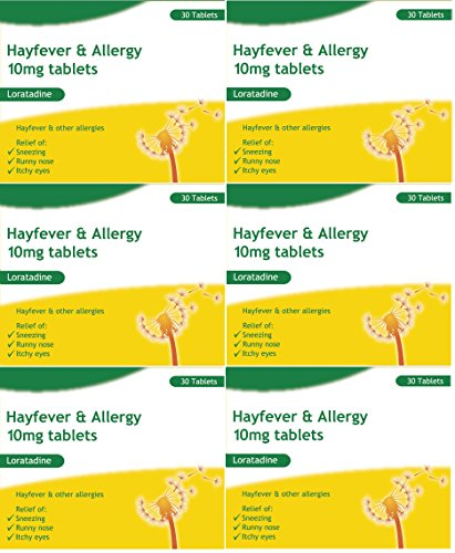 6 Months Supply Loratadine Hayfever & Allergy Relief 10mg Tablets (30x6) GSL
