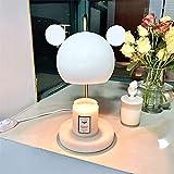 7HAHA3 Lindo Oso Vela Calentador Lámpara Altura Ajustable Aromaterapia Eléctrica Vela Fusión Luz de Noche Vela Tarro Fundidor Regulable,White
