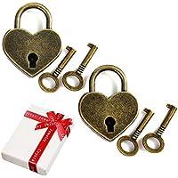 Mini candado antiguo en forma de corazón vintage de 2 piezas con juego de llaves de 4 piezas,nostalgia Candado pequeño de corazón antiguo estilo para regalo de fiesta bloqueo de amor diario decoración