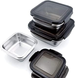 Femora High Steel Square Container Airtight Leakproof Unbreakable Storage Container/Lunch Box - 380 ML_550 ML_750 ML, Set ...