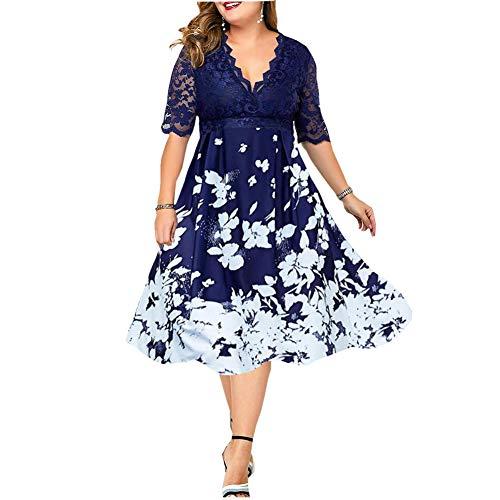 TQSDYY Vestido de Verano de Talla Grande para Mujer, Vestido Midi de Fiesta de Talla Grande con Flores de Retazos, Vestido Elegante de Encaje para Mujer