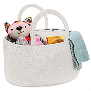 X-Large Baby Diaper Caddy Organizer, ABenkle Rope Diaper Storage Basket, Portable Baby Basket for Boy/Girl's Nursery Diaper Organizer for Changing Table – for Baby Shower