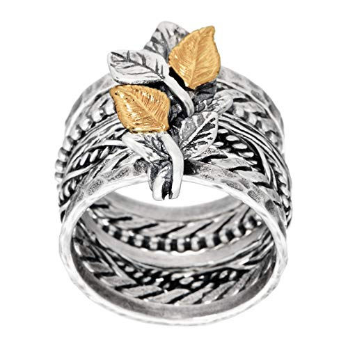 PAZ CREATIONS .925 Sterling silver multi-band ring with 14K Gold Leaves (5)