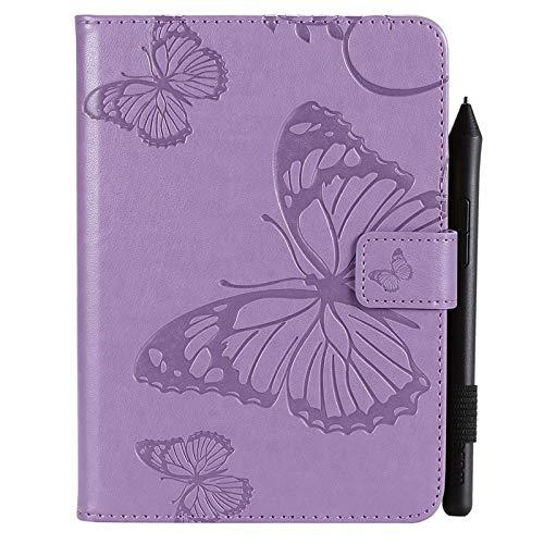 GHC Tablets Custodie e Covers per Amazon Kindle Paperwhite 4 (10th Generation-2018) 6.0 Pollici, Custodia for Tablet in Pelle PU con Motivo Floreale a Farfalla (Color : Purple)