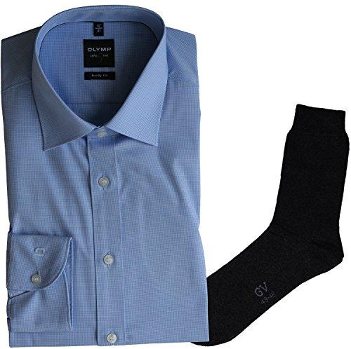 OLYMP Herrenhemd Level Five, Body fit, Langarm, New York Kent Kragen, bleu kariert + 1 Paar hochwertige Socken, B&le