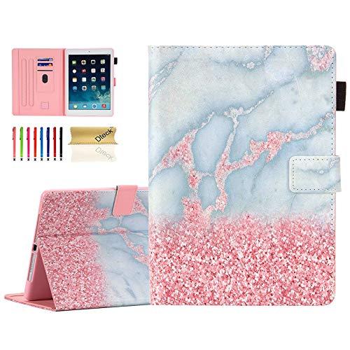 Dteck iPad 9.7 2018 2017 Case with Pencil Holder/iPad Air 2 Case/iPad Air Case,Slim Folio Kickstand Smart Cover Auto Sleep Wake Girls Case for Apple iPad 9.7 6th 5th Gen/iPad Air 1 2,Pink Marble
