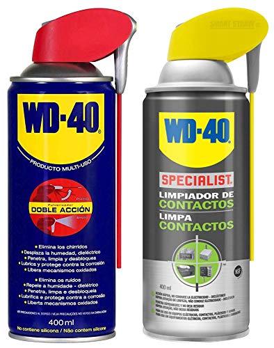 WD-40 - Lote Limpiador WD40 Doble Accion 400 Ml + Specialist Limpiador de Contactos 400ml - Pack 2 unidades