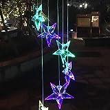 LEDMOMO Windglockenlichter Farbe änderndes Solarwindglockenspiel Sternenklares LED-Windglockenspiel für Parteibalkon-Patiodekoration