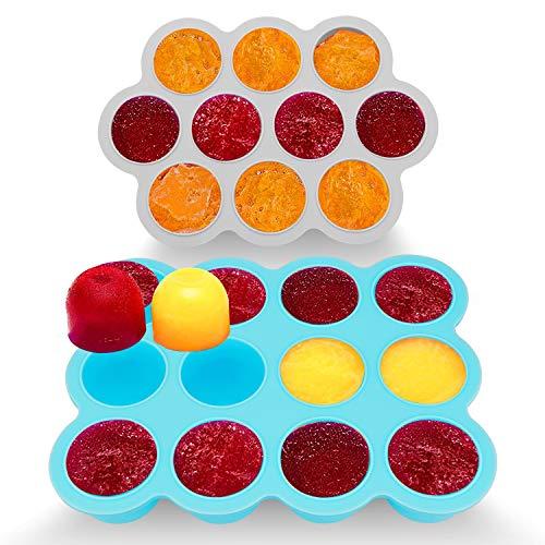 Contenitore per La Conservazione Della Pappa Senza BPA e Approvato dall'FDA 10 & 12 scompartimenti, Coperchio Rimovibile Adatto al Microonde, Lavastoviglie, Freezer (Set di 2)