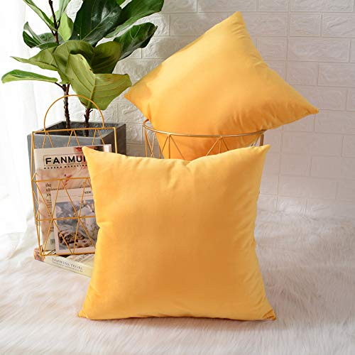 MERNETTE Pack of 2, Velvet Soft Decorative Square Throw Pillow Cover Cushion Covers Pillow case, Home Decor Decorations For Sofa Couch Bed Chair 18x18 Inch/45x45 cm (Lemon Yellow)