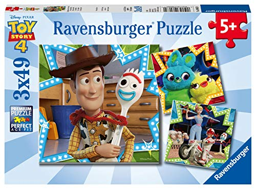 Ravensburger 4 Disney Toy Story Puzzle per Bambini, Multicolore, 3 X 49 Pezzi, 08067