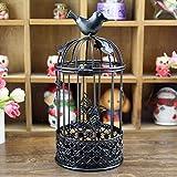 Candelabro retro Boda decorativa en forma de jaula para la decoración del hogar Escritorio Mesa(black)