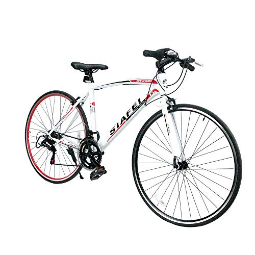 クロスバイク マウンテンバイク 700*23C シマノ製14段変速 超軽量高炭素鋼フレーム 前後キャリパーブレーキ ワイヤ錠・ライトのプレゼント付き 自転車 6色選べる 02WHRD
