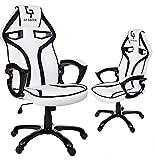 GIOSEDIO GP Racer Gaming Chefsessel Bürostuhl Modisch Racing Stuhl Computerstuhl (Weiß/Schwarz)