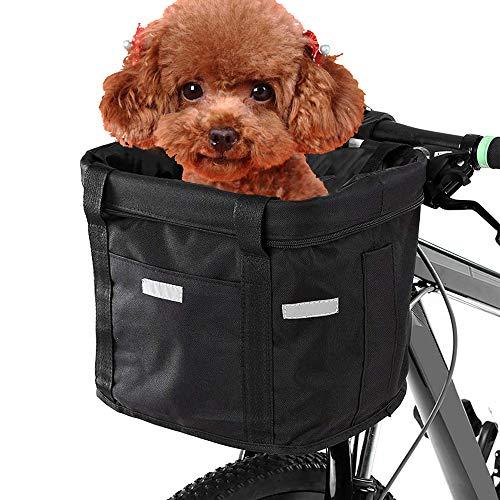 WDEC Cesta para Bicicleta, Cesta de Bicicleta Plegable Desmontable Bolso Portador de Perro Pequeño, Impermeable Cesta Delantera de Bicicleta para Porta Mascotas, Camping al Aire Libre, Picnic (Negro)