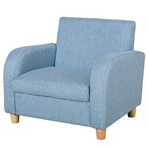 HOMCOM Kids Children Armchair Mini Sofa Wood Frame Anti-Slip Legs High Back Bedroom Playroom Furniture Blue