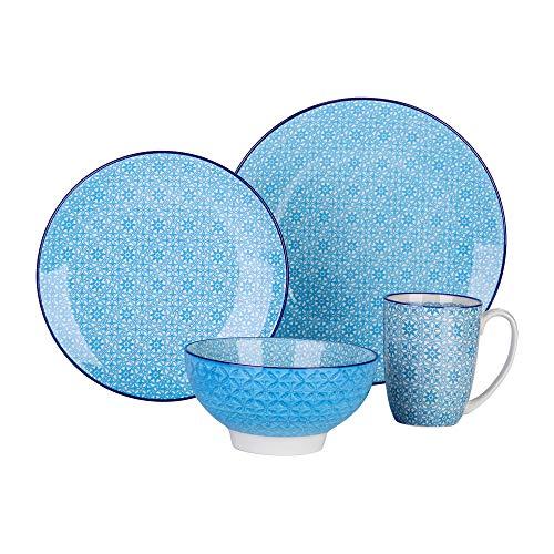 vancasso serie Macaron Vajillas de 4 piezas Porcelana Vajillas Colores Redonda Estilo Japonés Pintado a Mano Vajillas de Porcelana Azul Claro