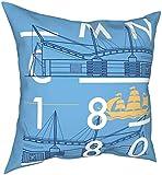 Funda de almohada Funda de cojín Etihad Stadium Manchester City Sport City Patrón de velero Fundas de almohada de lujo Decoración del hogar para sofá Sofá Dormitorio Sala de estar 18 x 18 pulgadas