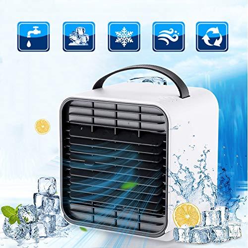 Luftkühler, 3 in 1 tragbarer Mini-Klimaanlagenlüfter, Desktop-Raumkühler Luftbefeuchter & Luftreiniger mit 3 Geschwindigkeiten Nachtlicht für zu Hause Büro