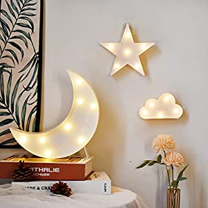 GUOCHENG Lovely White Moon Star Cloud Light Set Battery Operated LED Marquee Light Sign Warm White Bedside Lamps for Kids Children Bedroom Nursery, Baby Standing Night Light