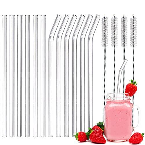 ZAHRVIA - Cannucce in vetro riutilizzabili, 6 cannucce dritte in vetro e 6 cannucce in vetro curve, con 4 spazzole per la pulizia per frullati, succhi di frutta e cannucce da cocktail (diametro 10 mm)